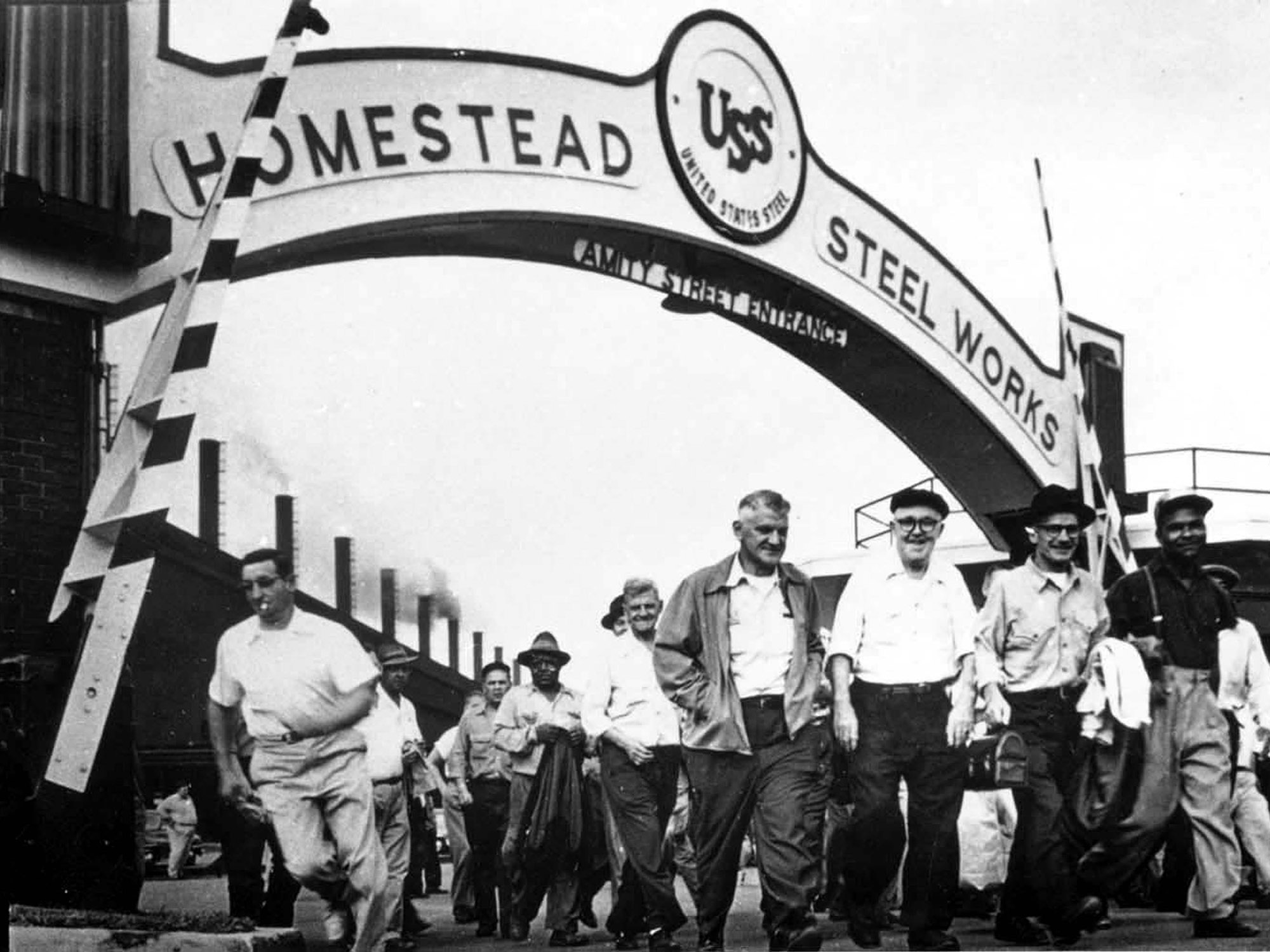 Archival image of workers changing shifts at Homestead Steel Works